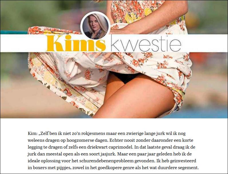 Plaatje van stukje over de oplossingen tegen schurende bovenbenen van de pagina Vrouw van de Telegraaf en een stukje intro tekst. Onder het plaatje zit een link als je erop klikt kom je bij het hele artikel op de website van de Telegraaf